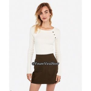 Ribbed Fitted Button Shoulder Sweater